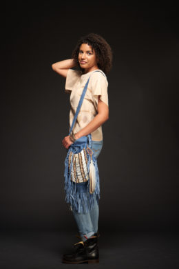 Blue Bone & Tassel Bag