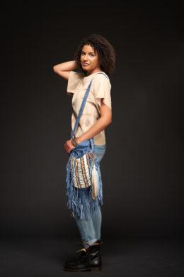 Blue Bone & Tassel Bag