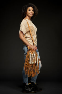 Tan Bone & Tassel Bag