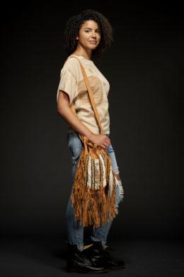 Tan Bone & Tassel Bag